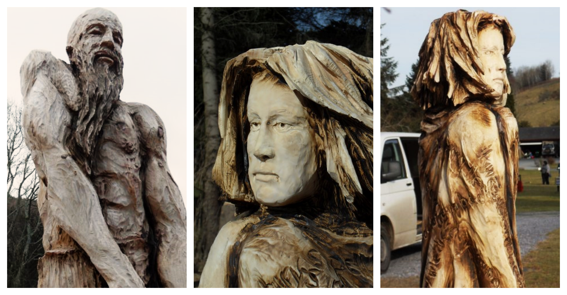 Sculptures of myths and legends: a triptych of wooden sculptures of characters from the mabinogion by simon o'rourke