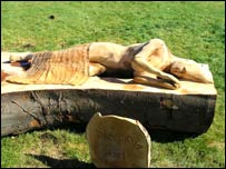 english open chainsaw entries by simon o'rourke: 2004 sleeping girl. A sleeping girl is carved onto a horzontal log