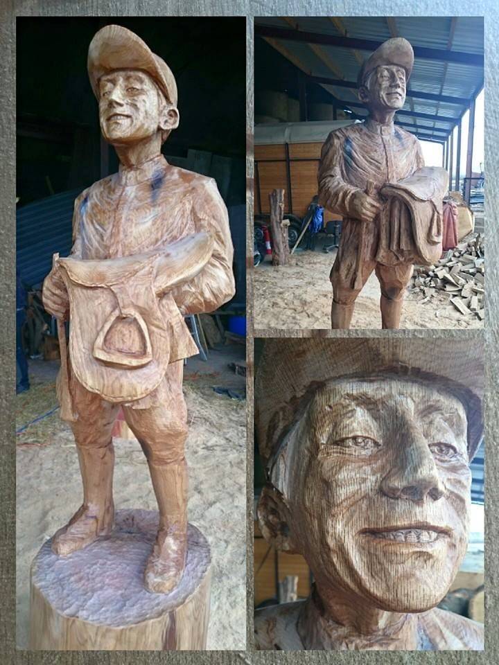 triptych showing different angles a jockey carved in oak, one of many sporting sculptures made by simon o'rourke