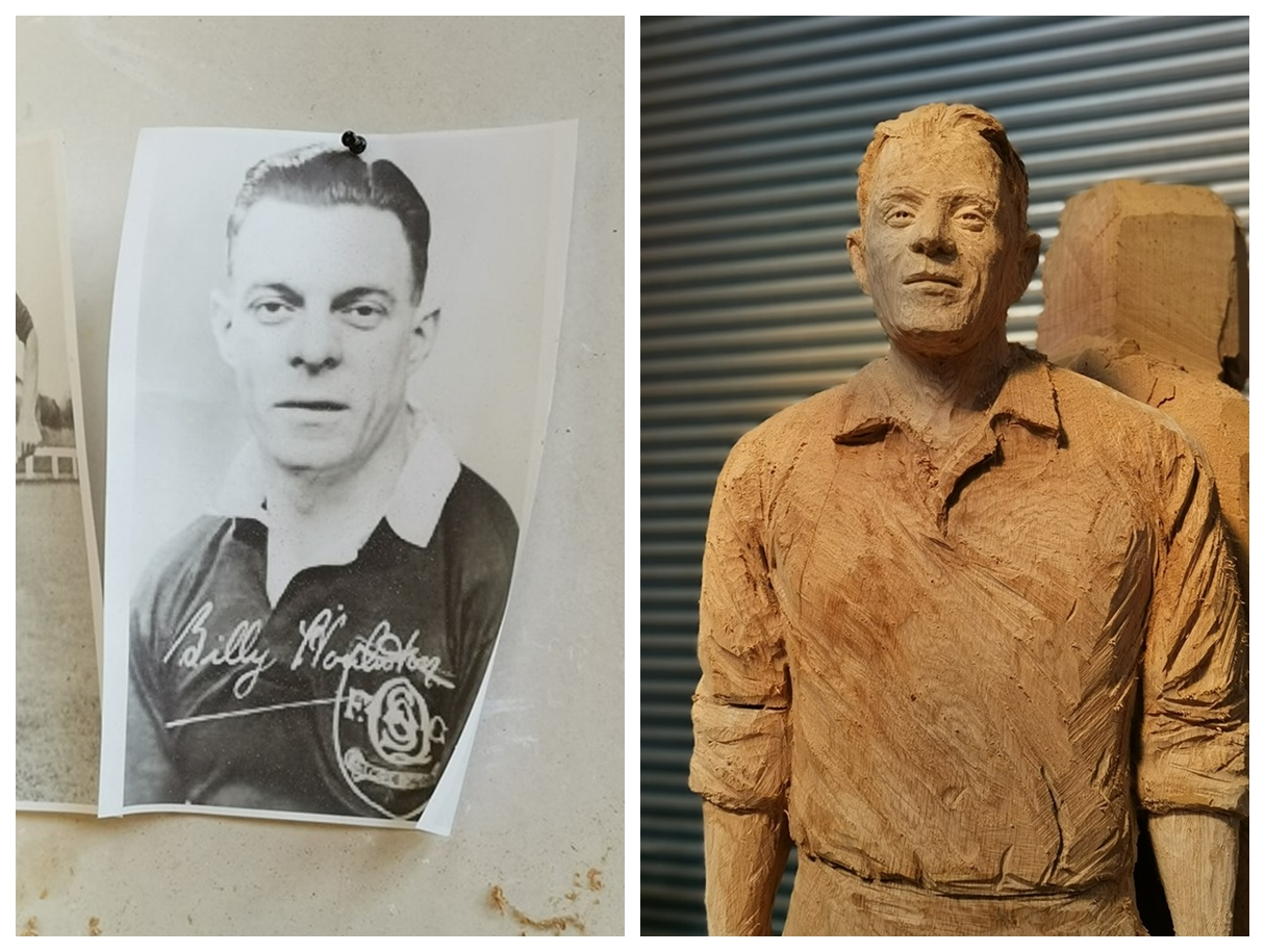 photograph of billy houliston in his soccer kit shown alongside a wooden lifesized sculpture of the player made by artist simon o'rourke
