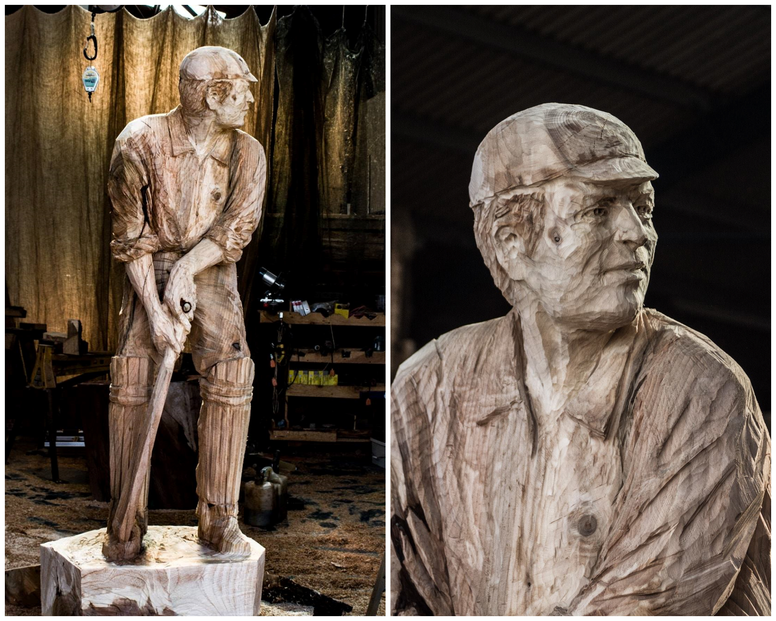 sporting sculptures by simon o'rourke. diptych of his vintage cricketer made in cedar