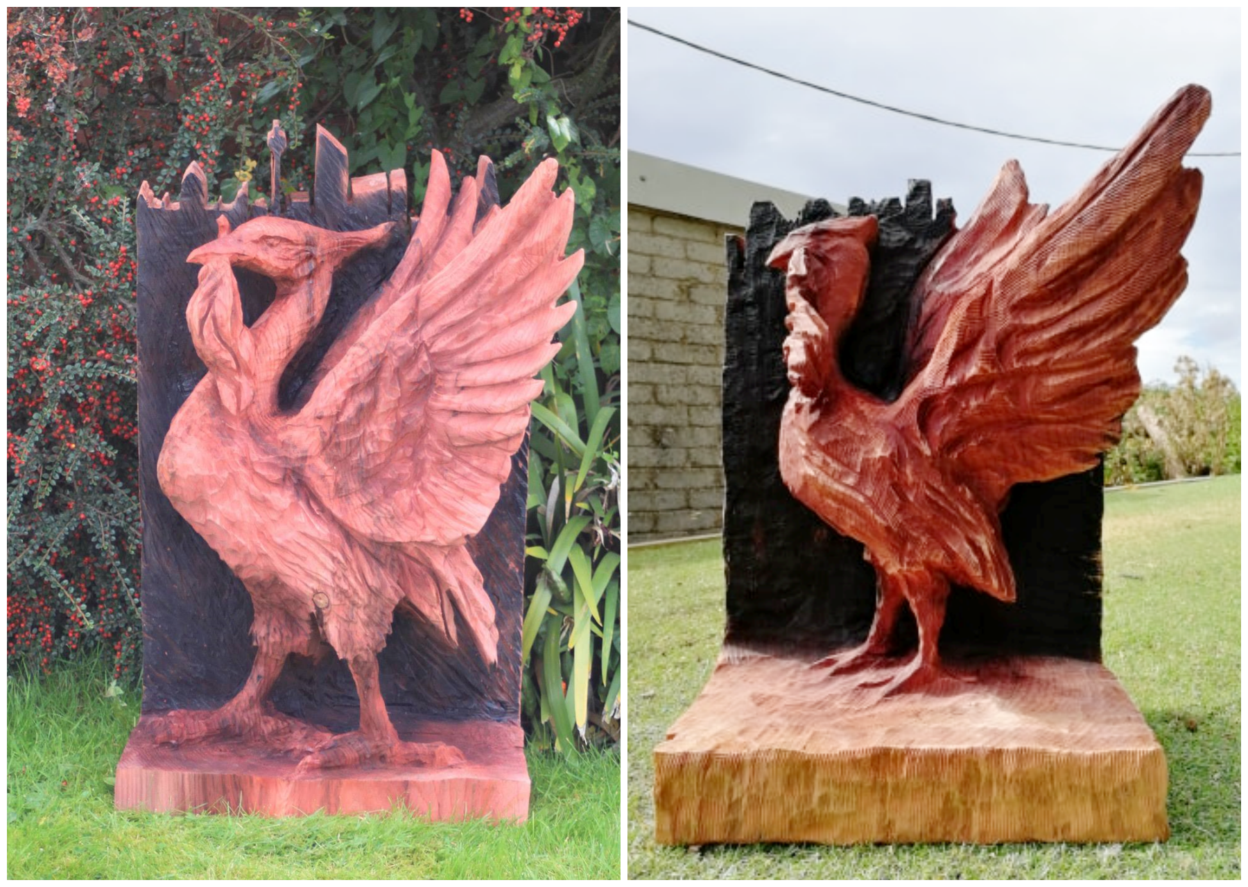 Two wooden sculptures of liverbirds are shown side by side. Sculptures are one of the wood logos and emblems made by Simon O'Rourke