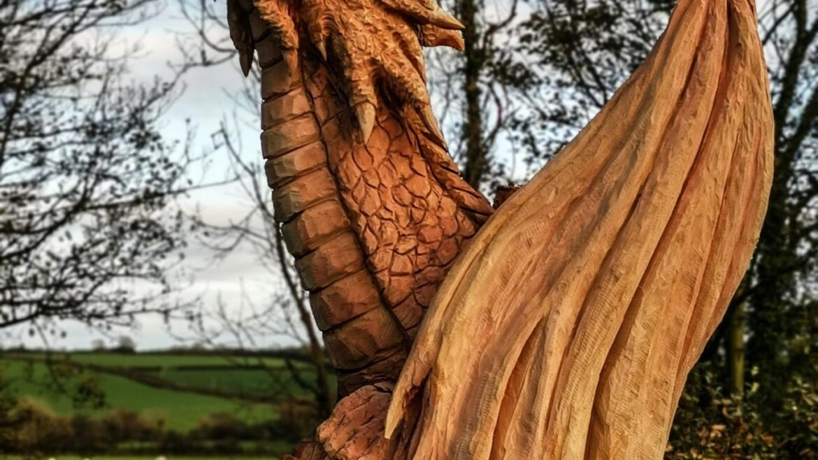 What to do with a diseased tree? SImon O'Rourke created this sculpture of a dragon emerging from a tree trunk out of an ash killed by ash dieback