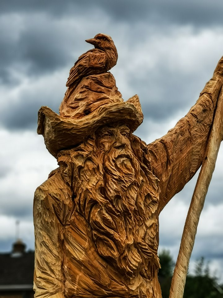 Wooden sculpture of radagast the brown from The Hobbit. Created by Simon O'Rourke from a diseased tree