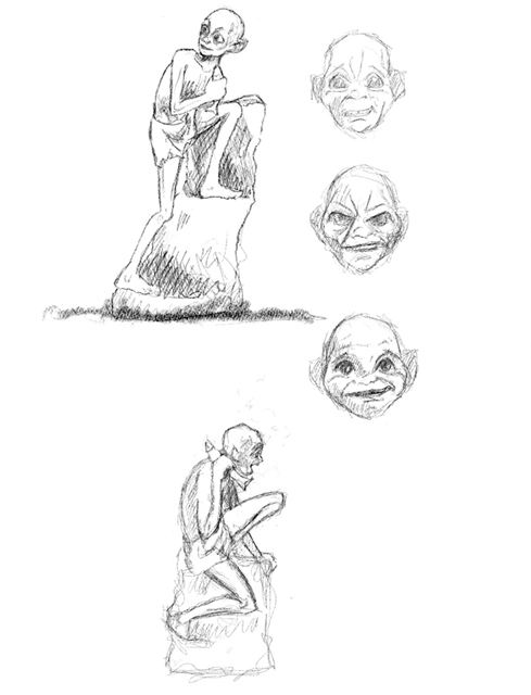 The process of creating the gollum sculpture: photo shows SImon O'Rourke's original sketches of the sculpture. It shows the face from three angles, and two full length sketches of the sculpture.