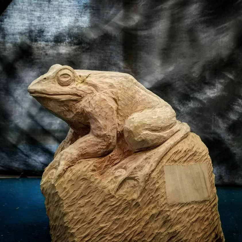 Wooden sculpture of a frog from Page's Wood, one of simon o'rourke's woodland sculpture trails