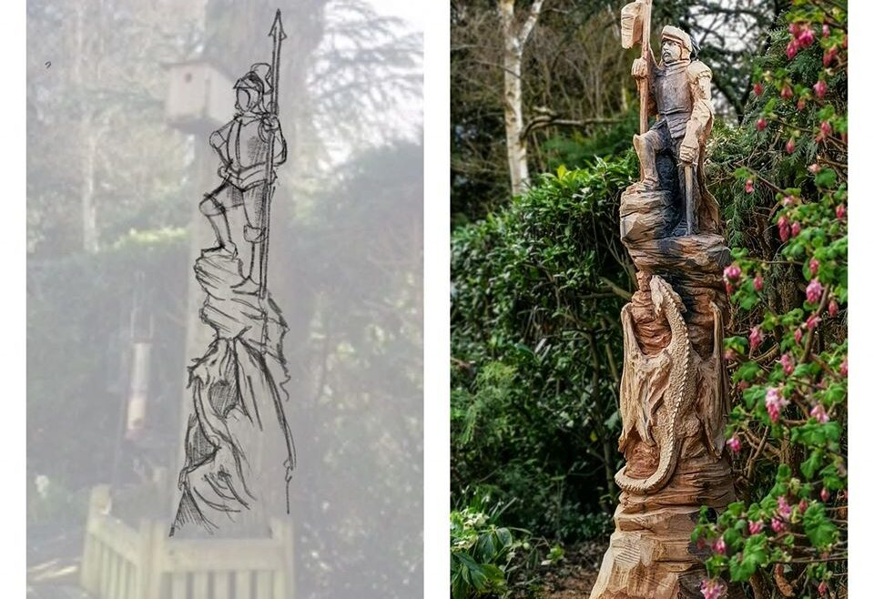 How to commission a sculpture: picture shows a side by side of Simon O'rourke's original sketch and a finished sculpture of George and the Dragon. Minor changes were made to accomodate the flaws in the wood