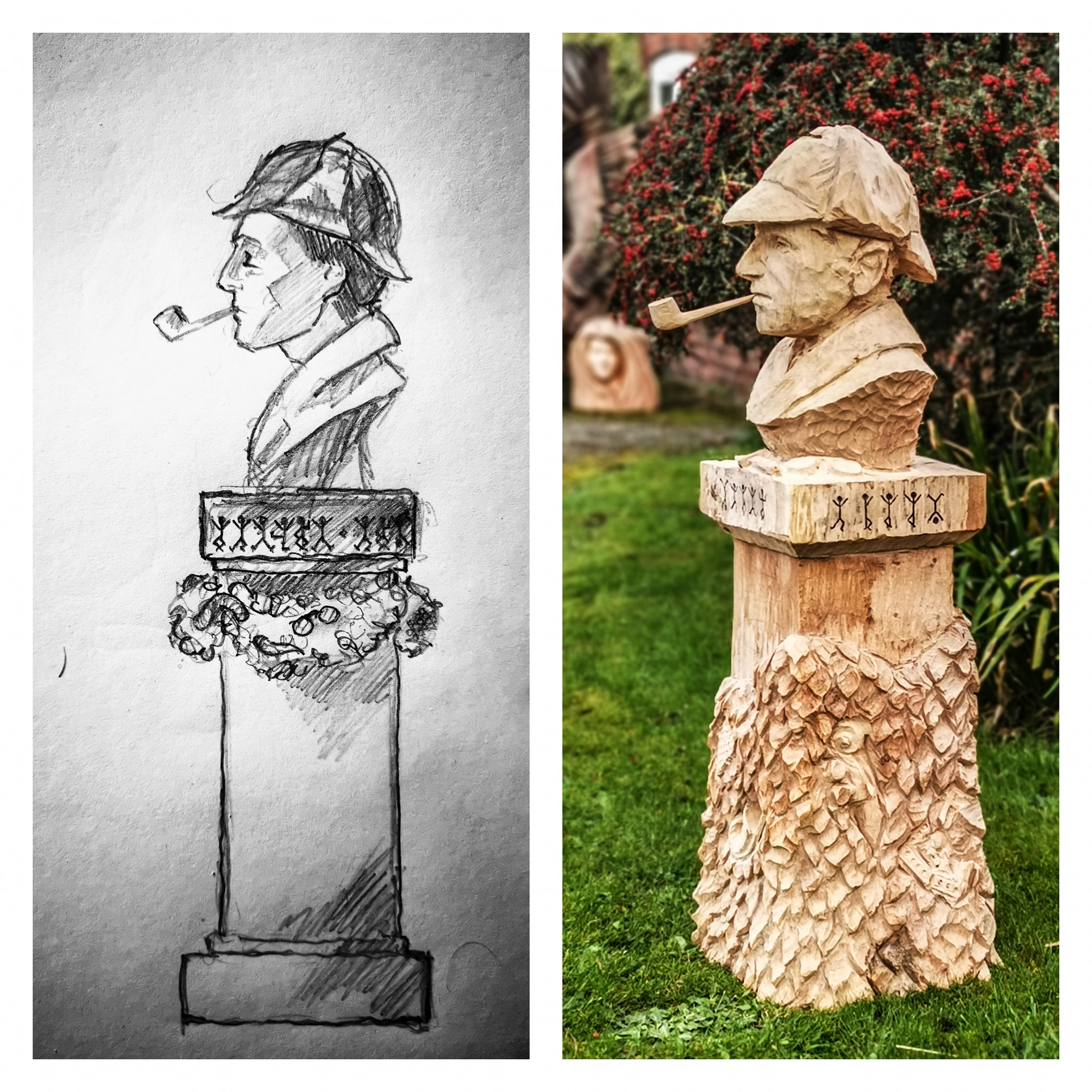 Photo shows a comparison of Simon O'Rourke's original sketch for a wooden Sherlock Holmes bust and the finished sculpture.