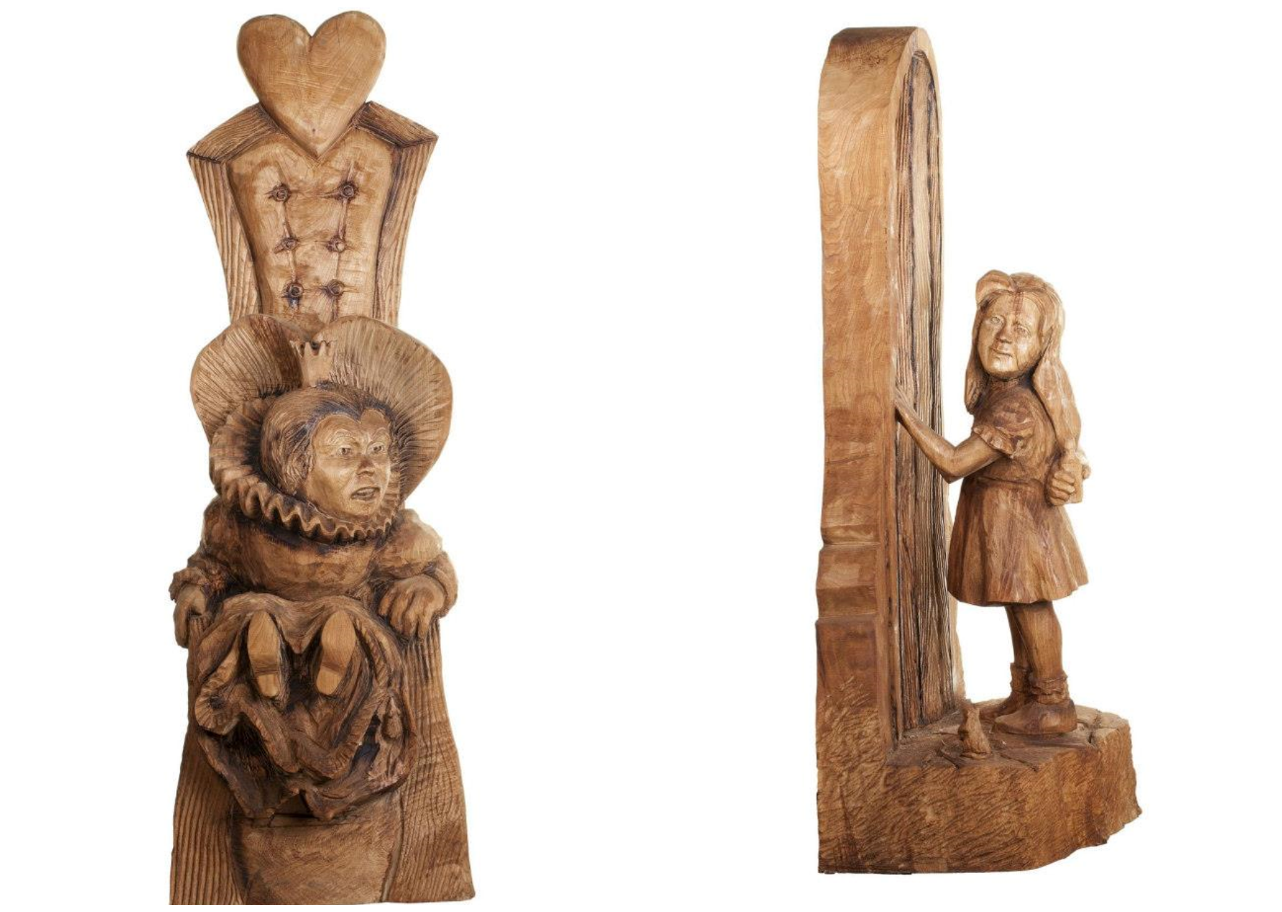 Alice in Wonderland and Queen of Hearts sculptures from one of Simon O'Rourke's wooden sculpture trails