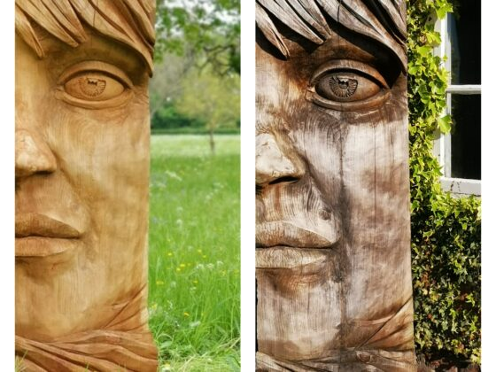 How long will my wood sculpture last? Picture shows side by side photos of a stylised woman's face sculpture to show the aging process. Photo one is warm, with lots of yellow and orange tones. The second has much more depth and is more grey in tone.