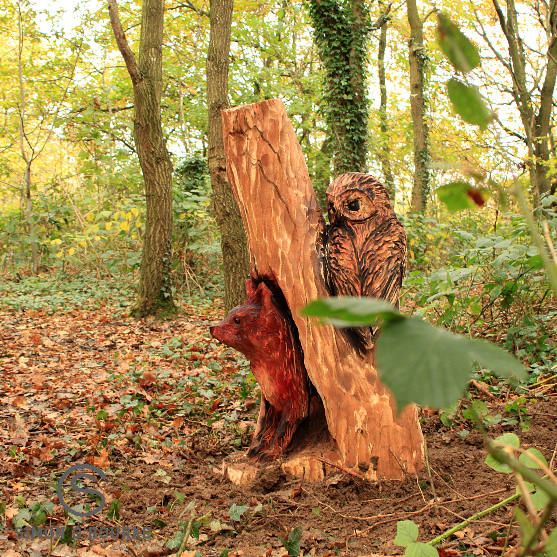 sculpture of an owl watching a fox emerging from a hole in a tree trunk. It forms park of meadow park trail, one of simon o'rourke's sculpture trails