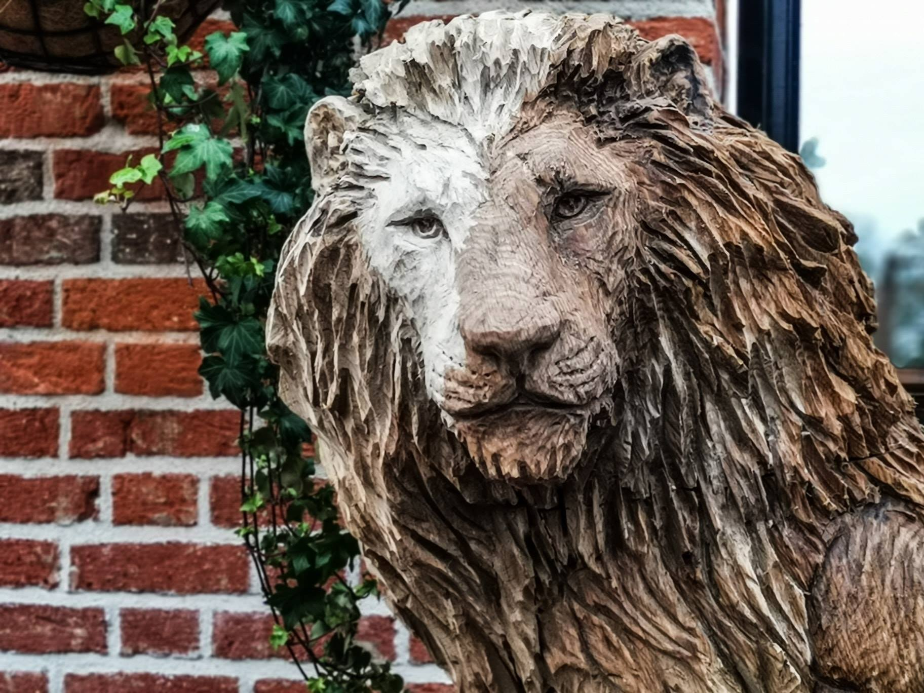 close up of the face of an oak lion sculpture