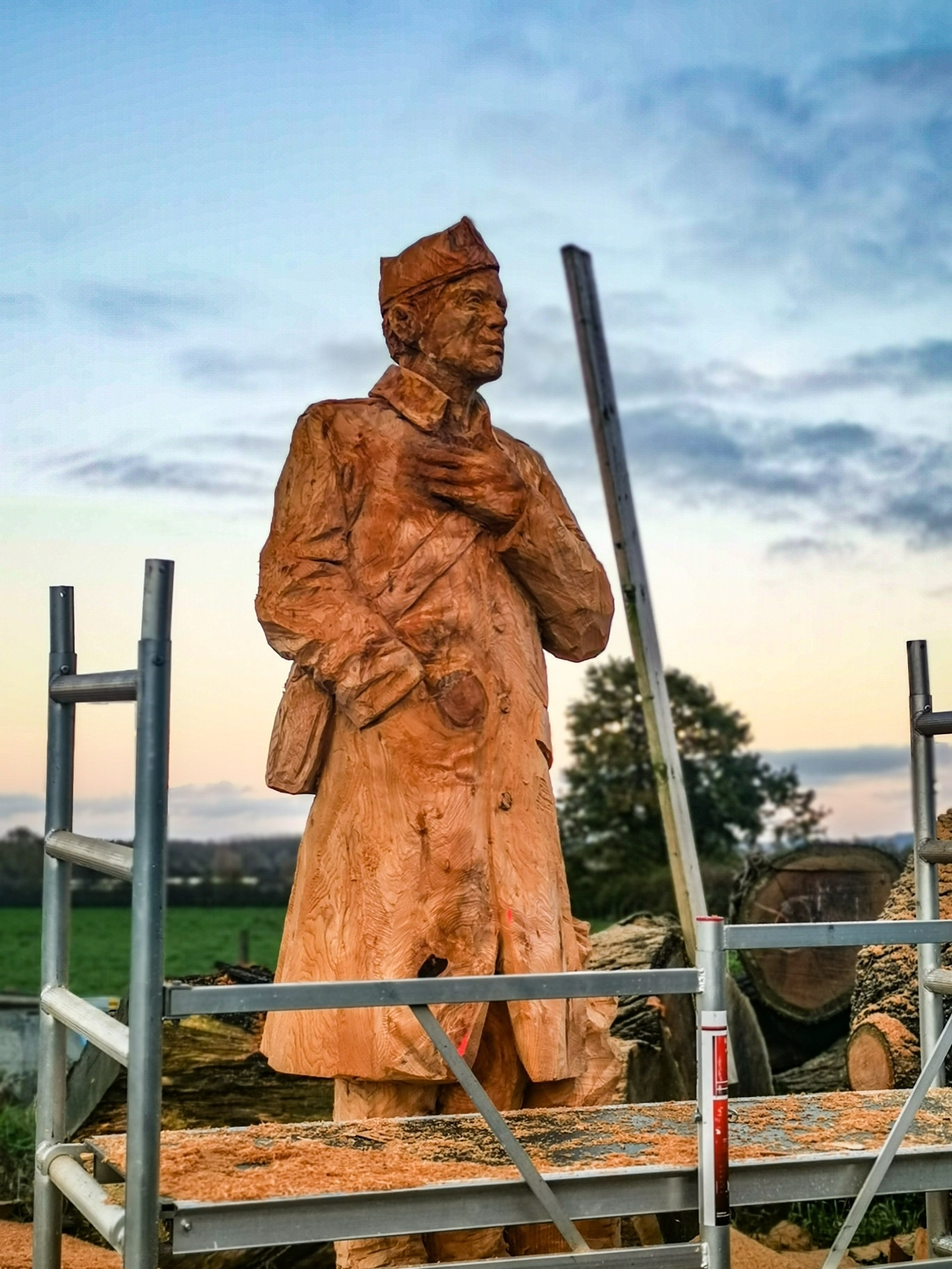 World War I soldier in oak. Carved by simon o'rourke.