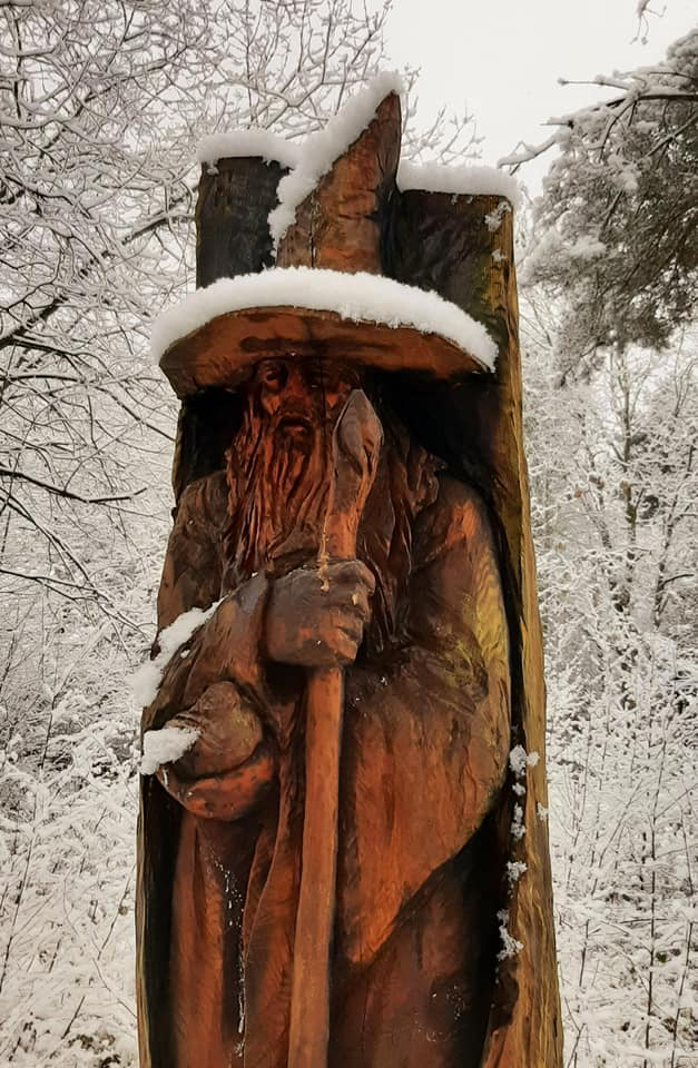 Sculptures in the snow: Gwyddion the wizard by Simon O'Rourke. Photo credit: Mike Norbury
