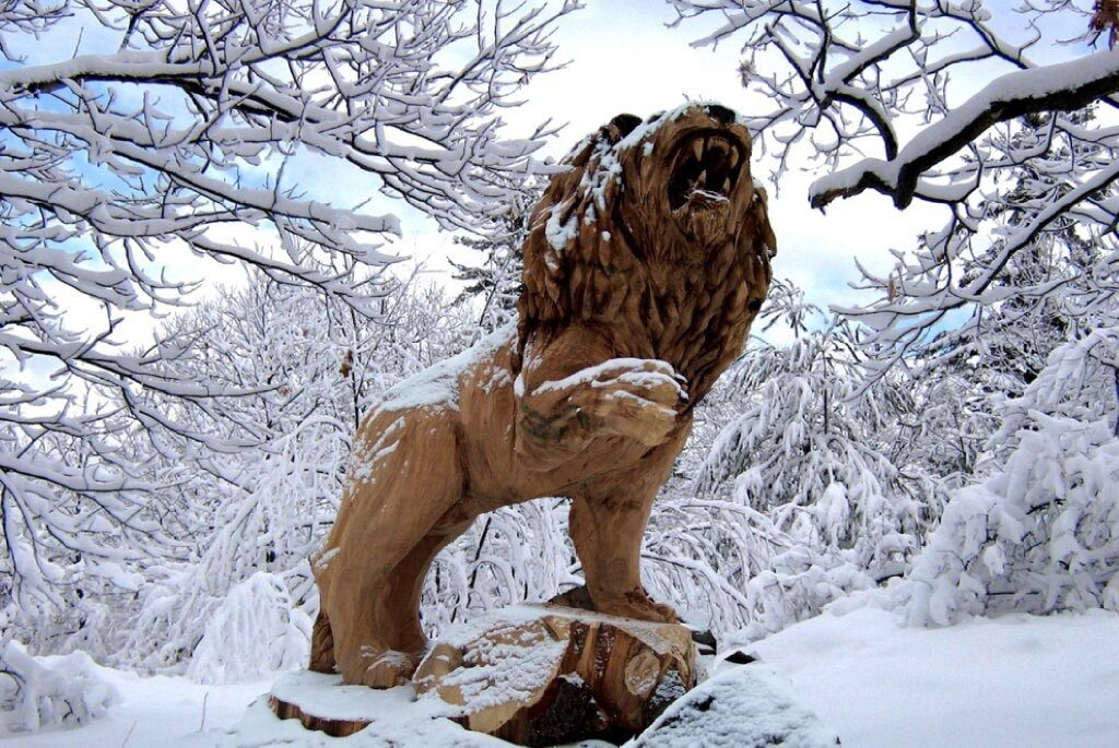 Sculptures in the Snow: A roaring lion surrounded by snow covered ttrees