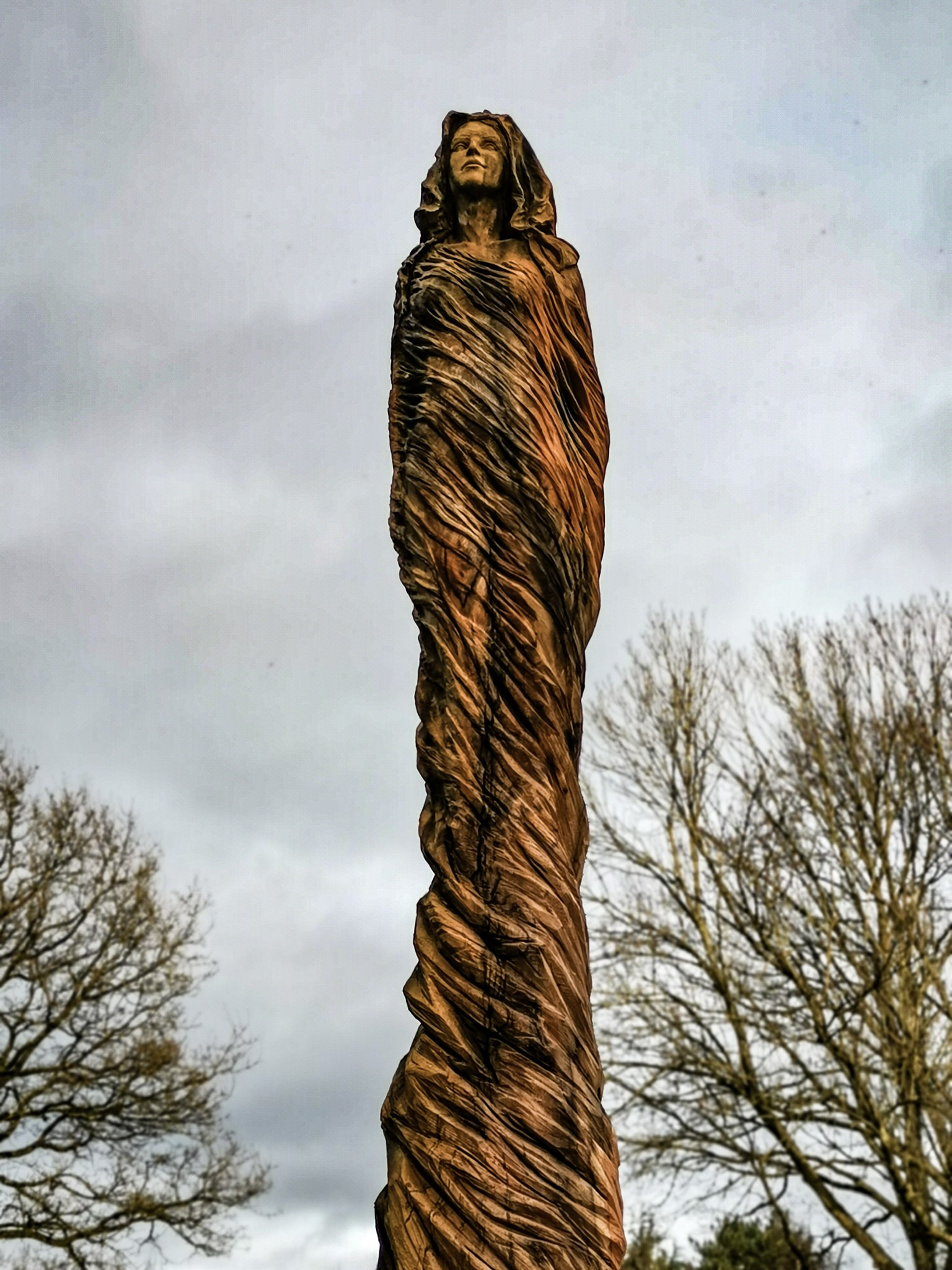 simon o'rourke's sculptures of 2020: photo shows the marbury lady in northwich