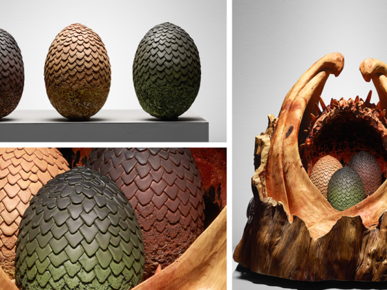 Game of thrones sculpture: photo shows the dragon eggs on the left, and the eggs being held in the casket made by simon o'rourke on the right