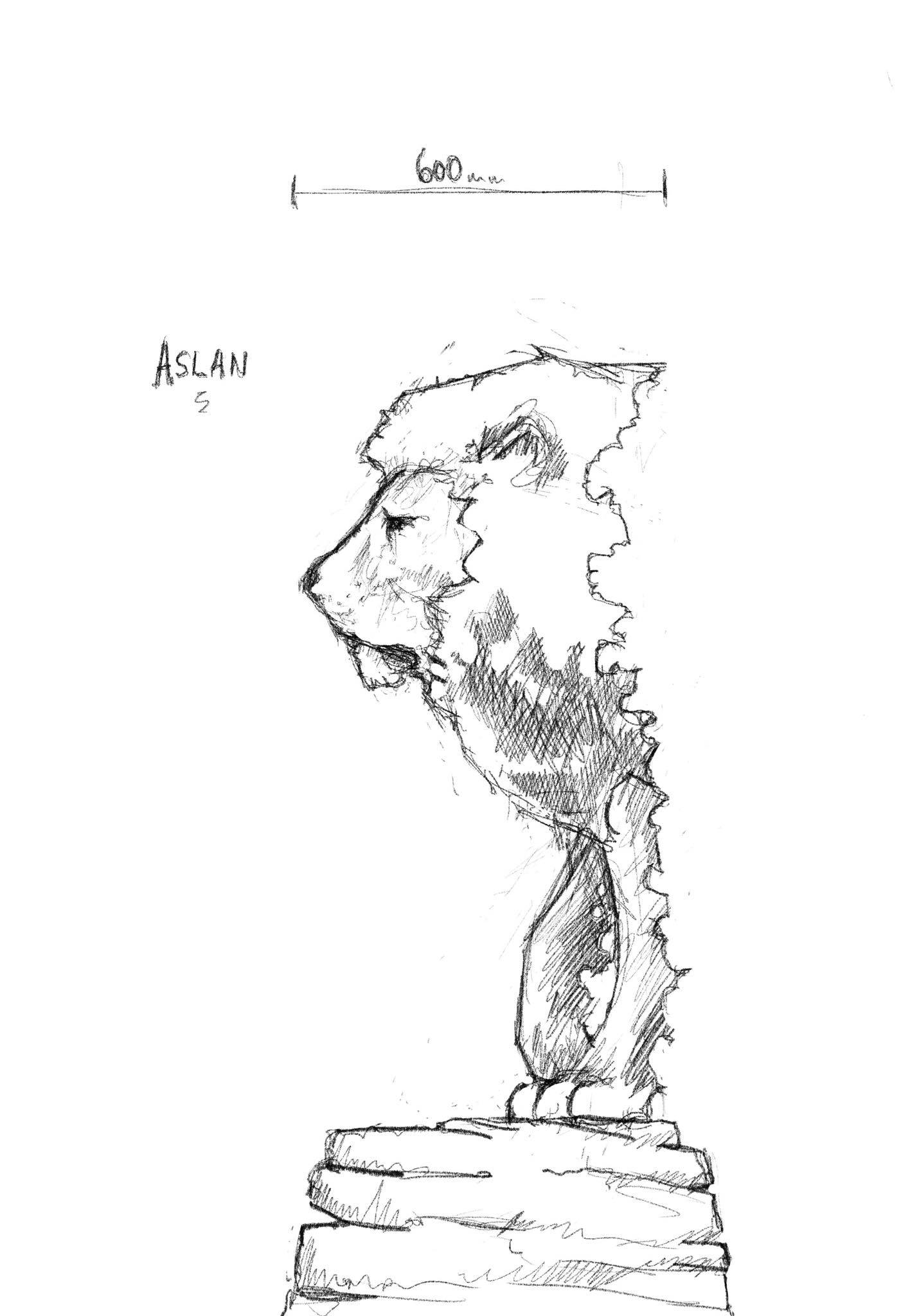 commissioning the right sculpture: a sketch of a lion by simon o'rourke. It is the head and front legs on a lion standing on a plinth. the lion is suggested to be Aslan from C S Lews' Narnia series.