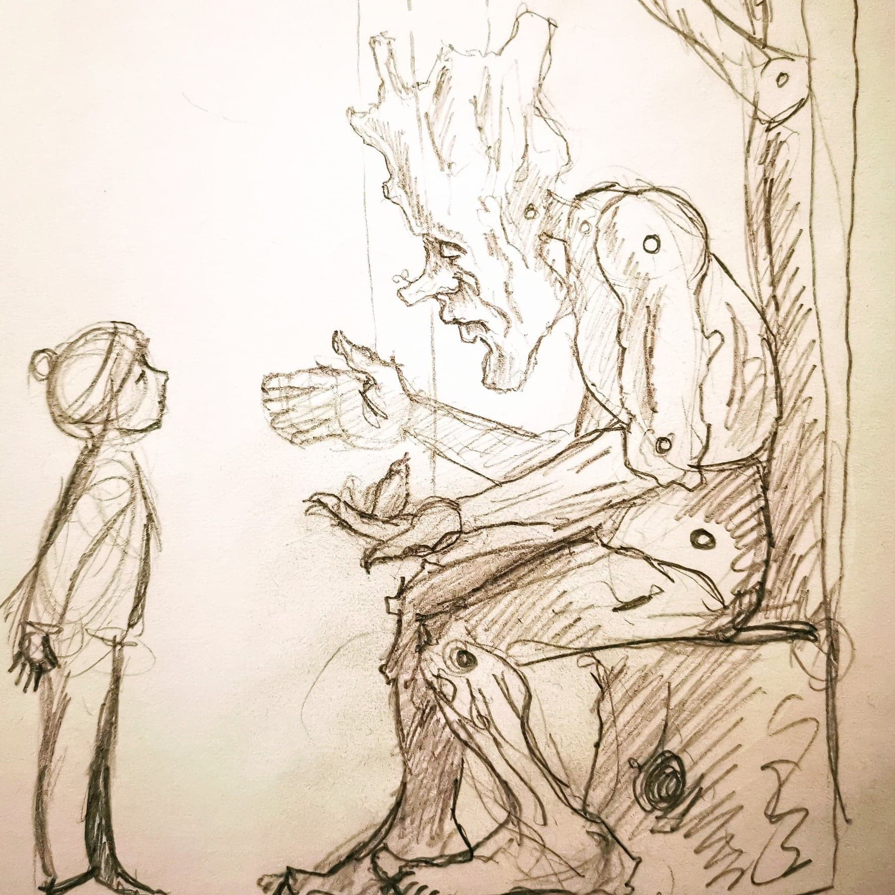 proposal sketch for a sculpture by simon o'rourke. the sketch shows a giant 'treefolk' while he talks to a young boy. marionette sitting