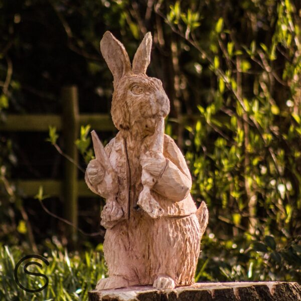 Oak sculpture of Peter Rabbit by Simon O'Rourke