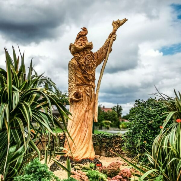 radagast the brown. a sculpture in fir by simon o'rourke