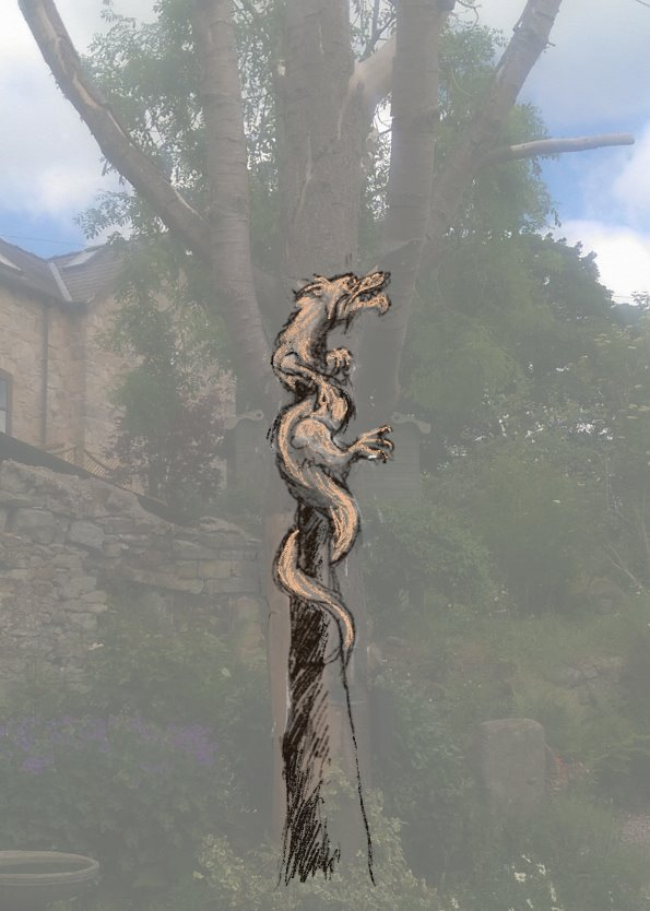Commissioning the right sculpture means exploring a variety of designs. Picture shows a faded photo of a garden with a tree stump. Simon O'Rourke has sketched his proposed sculpture over the photo so the client can imagine what that piece would look like. Proposed sculpture is a Japanese dragon wrapped round the trunk.