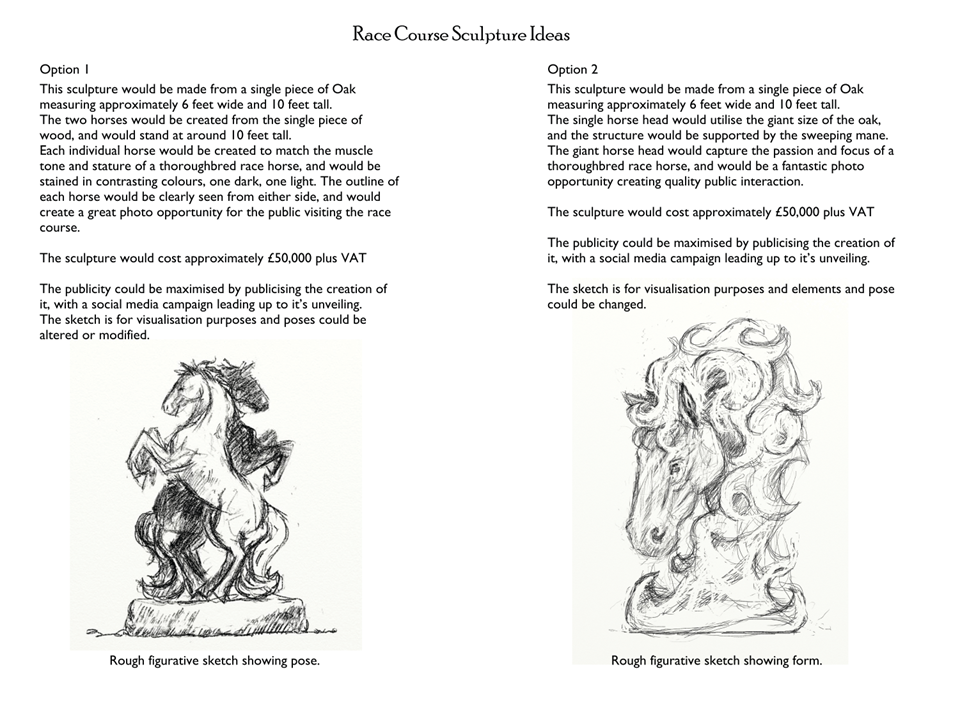 Picture shows sketches of two different potential horse sculptures by Simon O'Rourke. Above each is text explaining the size, material and costs. Proposals like this are a key part in commissioning the right sculpture by an artist.