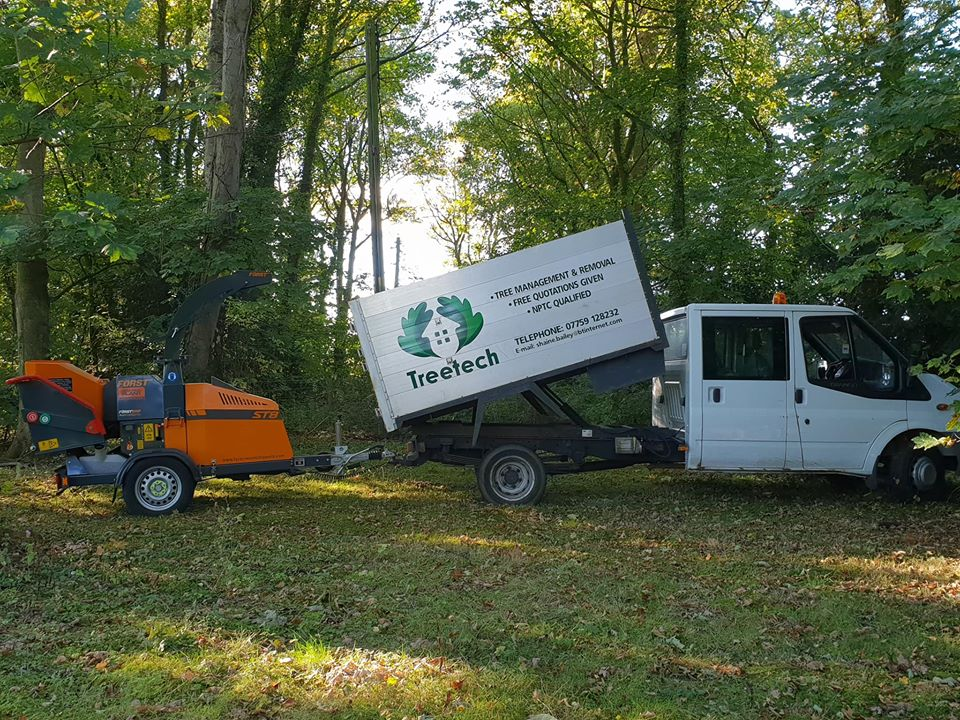 tips for getting started in chainsaw carving No 5 - know a good tree surgeon. photo shows a Treetech truck.