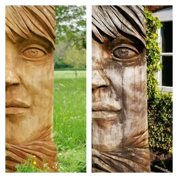 Side by side photo of a woman's face carved in redwood by simon o'rourke to show the aging process of wood. The left is far more yellow and warm. The right has deeper shadows and cracks and grey hues.