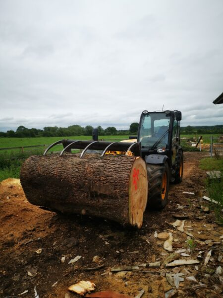 Photo shows a tractor with a fork lift attachment carrying a large tree trunk. Finding the centre of the trunk is essential in learning how to best position a sculpture within a log.