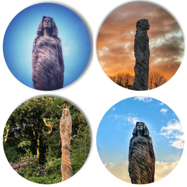 The Marbury Lady Revisited: A series of four coasters featuring photos of The Marbury Lady sculpture by Simon O'Rourke