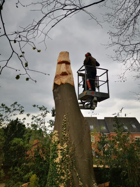 Photo shows a man carving a sculpture from a tree trunk. He is standing in a tall cherry picker. Equipment like this is one of the Things to Consider When You Commission an On-Site Chainsaw Carving Sculpture