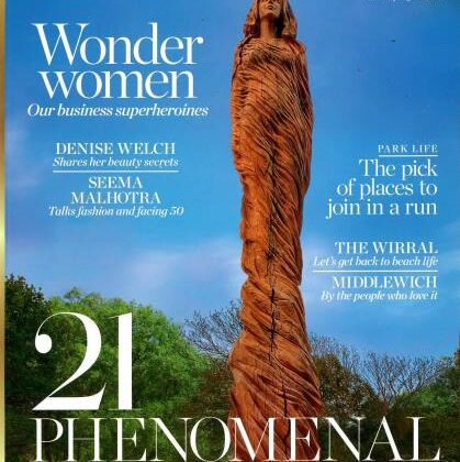 Cheshire Life Magazine cover featuring The Marbury Lady sculpture by Simon O'Rourke