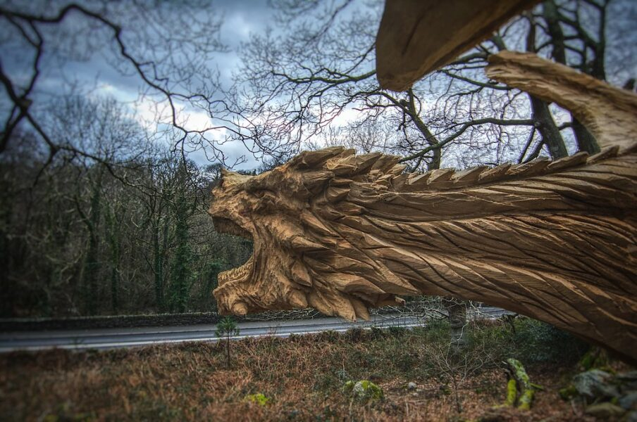 Simon O'Rourke's dragon of bethesda, one of his public tree carving sculptures to see this bank holiday weekend