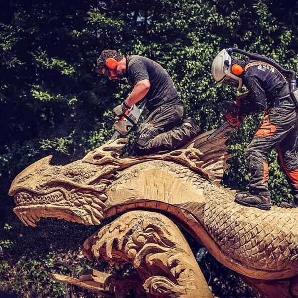 Simon O'Rourke and Keiji Kidokoro wear stihl safety gear as they carve a CHinese Waterdragon at Huskycup 2019. safety gear is an important part of your Basic Kit for Starting Chainsaw Carving