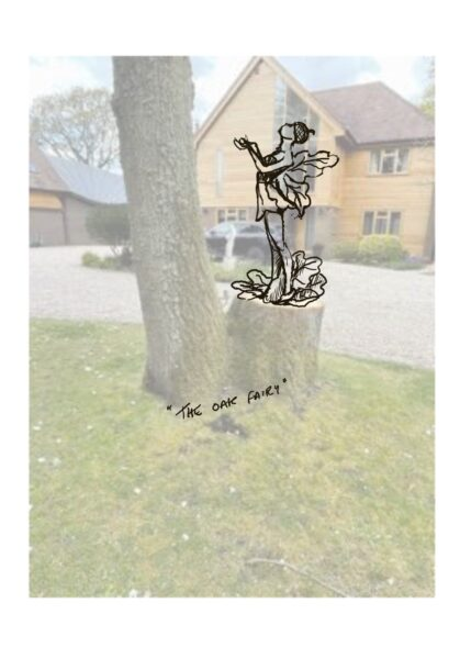 photo shows a split tree oak with a line drawing of an oak fairy sculpture superimposed over the trunk