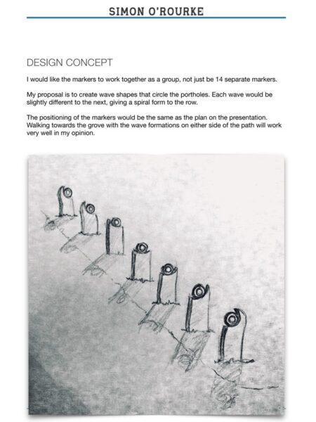 part of a proposal from simon o'rourke for a sculpture trail. the bidding process is the first stage of creating a sculpture trail