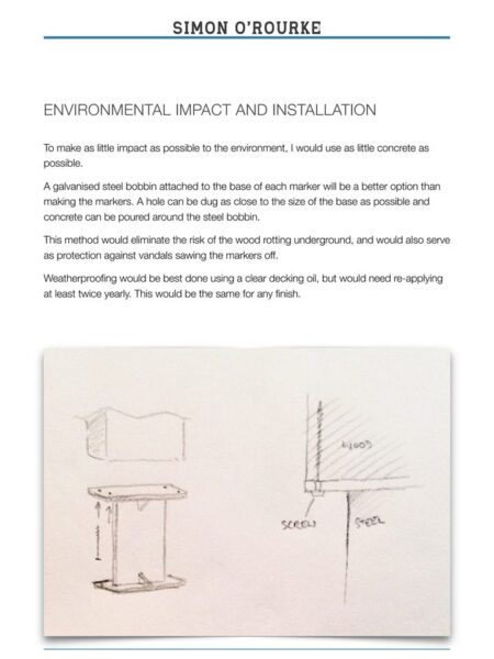 sample from a bid for a sculpture trail, part of simon o'rourkes process in creating a sculpture trail