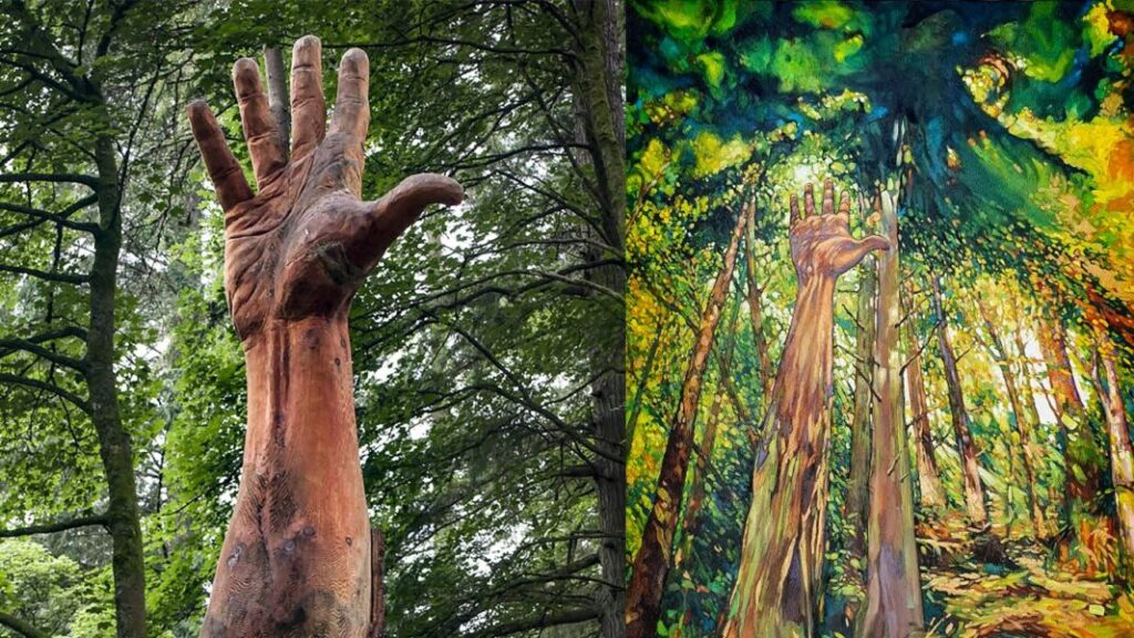 chainsaw and brush Giant hand of vyrnwy prints shown next to the giant hand sculpture