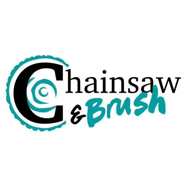 chainsaw and brush logo