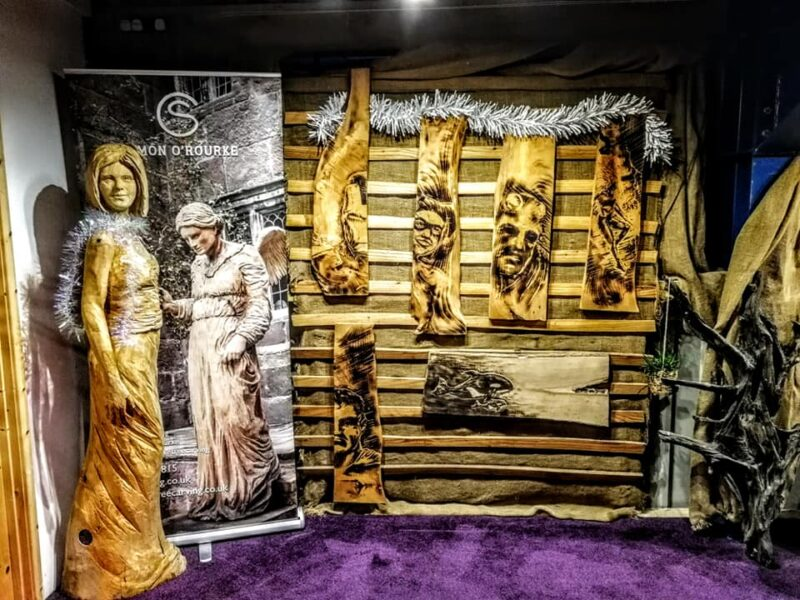 a selection of chainsaw carving sculpture