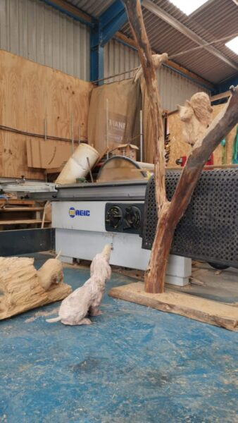 Fudge and Sid oak sculptures in a workshop. both are characters from lower farm sculpture trail
